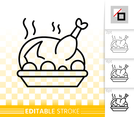 Fried Turkey thin line icon. Outline sign of traditional meal. Baked Chicken linear pictogram, different stroke width. Simple vector transparent symbol. Thanksgiving editable stroke icon without fill