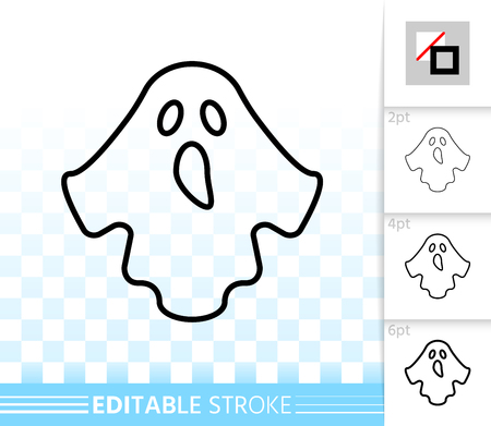 Ghost thin line icon. Outline web sign of halloween. Monster Dress linear pictogram with different stroke width. Simple vector symbol, transparent background. Costume ditable stroke icon without fill