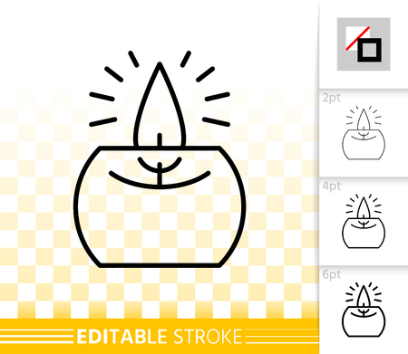 Candle Flame thin line icon. Outline sign of church decoration. Memorial Fire linear pictogram with different stroke width. Simple vector symbol, transparent. Party decor editable stroke without fill