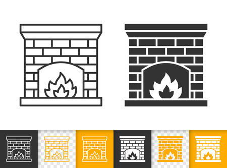 Fireplace black linear and glyph icons. Thin line christmas time sign. Open fire outline pictogram isolated on white color, transparent background. Vector icon shape of firesidee simple symbol closeup