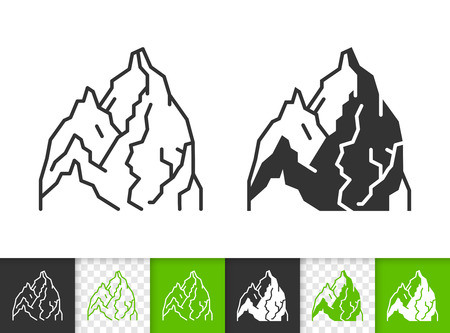 Mountain black linear and glyph icons. Thin line sign of nature landscape. High peak outline pictogram isolated on white transparent background. Vector Icon shape. Mount ice peak simple symbol closeup