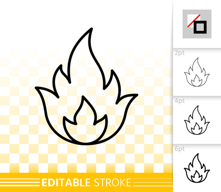 Fire thin line icon outline sign of bonfire. Flame linear pictogram with different stroke width. Blaze torch simple vector symbol on transparent background. Gas flash icon editable stroke without fill