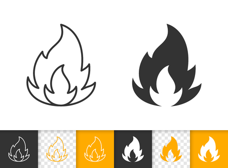 Fire black linear and silhouette icons. Thin line sign of bonfire. Flame outline pictogram isolated on white color, transparent background. Candle blaze vector Icon shape. Flare simple symbol closeup Stock Vector - 112312267