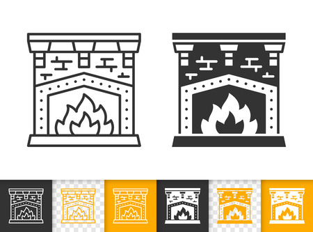 Fireplace black linear and glyph icons. Thin line christmas time sign. Open fire outline pictogram isolated on white color, transparent background. Vector icon shape of firesidee simple symbol closeup Stockfoto - 112310573