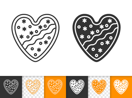 Gingerbread black linear and silhouette icons. Thin line sign of heart. Christmas outline pictogram isolated on white, transparent background. Vector Icon shape. Cookie template simple symbol closeup Illustration