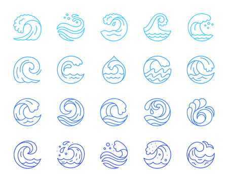 Wave thin line icon set. Outline sign kit of sea. Water splash linear icons of spiral curl, aqua decoration, tourist diving. Simple blue wave contour symbol isolated on white. Vector Illustration
