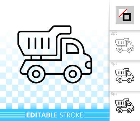 Truck toy thin line icon. Outline web sign of tipper. Van linear pictogram with different stroke width. Simple vector symbol, transparent background. Truck kids toy editable stroke icon without fill Иллюстрация