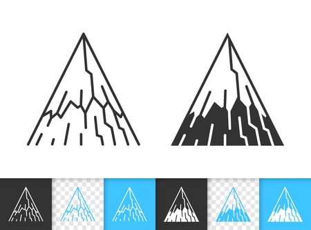 Mountain black linear, silhouette icons. Thin line sign of nature landscape. High Peak outline pictogram isolated on white, transparent background. Vector Climbing simple shape. Closeup ridge symbol