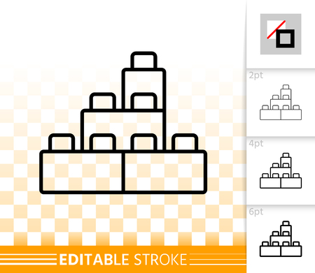 Building Block thin line icon. Outline sign of lego brick. Constructor linear pictogram with different stroke width. Simple vector transparent symbol. Kids plaything editable stroke icon without fill
