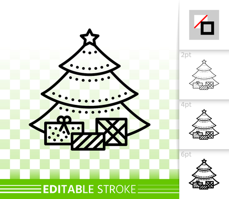 Christmas Tree thin line icon. Outline web stylized spruce sign. Fir Farm linear pictogram different stroke width. Simple vector symbol, transparent. Christmas Tree editable stroke icon without fill 일러스트