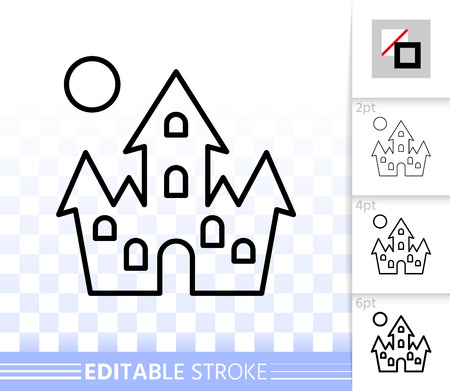 Dracula House thin line icon. Outline vampire castle sign. Halloween linear pictogram, different stroke width. Simple vector symbol, transparent backdrop. Full moon editable stroke icon without fill