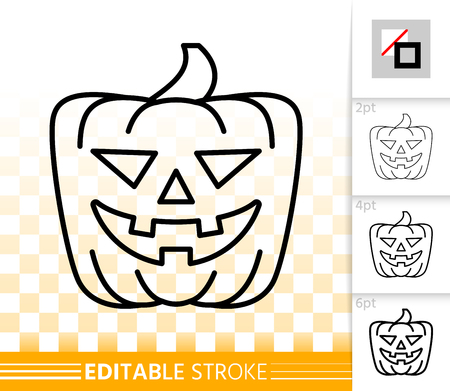 Halloween party pumpkin with carving face thin line icon. Jack O Lantern vector linear symbol with different stroke width. Editable stroke simple halloween sign without fill on transparent background Ilustração