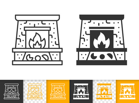 Fireplace black linear and glyph icons. Thin line christmas time sign. Open fire outline pictogram isolated on white color, transparent background. Vector icon shape of firesidee simple symbol closeup Stockfoto - 112310656