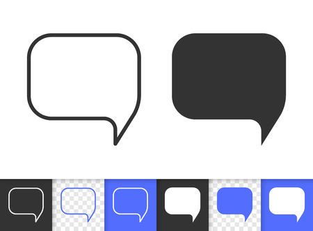 Speech bubble black linear and glyph icons. Thin line comic tell sign. Chat outline pictogram isolated on white transparent backdrop. Vector Icon shape of clean messege banner simple symbol closeup
