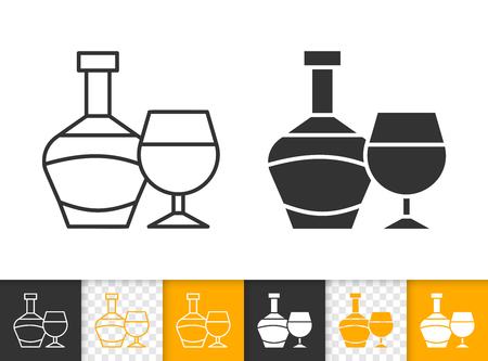 Bottle black linear and silhouette icons. Thin line sign of glass. Alcohol Drink outline pictogram isolated on white, transparent background. Vector Icon shape. Grape wine bottle simple symbol closeup
