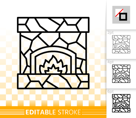 Fireplace thin line icon. Outline web christmas time sign. Open Fire linear pictogram with different stroke width. Simple vector transparent symbol. Fireside editable stroke icon without fill Stockfoto - 112311013