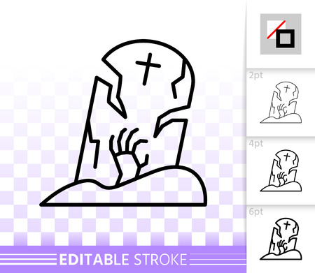 Halloween thin line icon. Outline web sign of tombstone. Cemetery Grave linear pictogram with different stroke width. Simple vector transparent symbol. Halloween editable stroke icon without fill