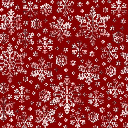 Sneeuwvlok naadloze lijnpatroon. Abstracte winterseizoen sierlijke ster achtergrond. Lineaire sneeuwvlokken herhalen ornament voor papieren omslag, stoffenprint, behangdecor. Ijzig ijs overzicht vectorillustratie Vector Illustratie