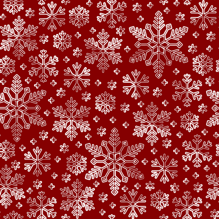 Snowflake line seamless pattern. Abstract winter season ornate star background. Linear snow flakes repeat ornament for paper wrap, fabric print, wallpaper decor. Frosty ice outline vector illustration