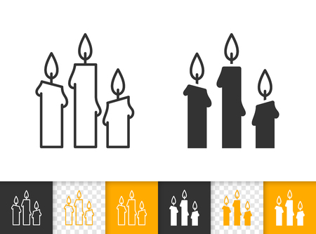 Candle flame black linear and glyph icons. Thin line church decoration sign. Memorial fire outline pictogram isolated on white background. Vector icon shape of prayer candlelight simple symbol closeup