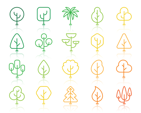 Geometric trees thin line icons set. Outline vector sign kit of graphic plant. Larch Forest linear icons of minimal shape, green oak, old arbol. Simple geometric tree contour symbol isolated on white