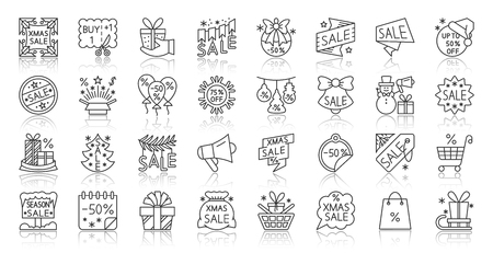 Super Sale thin line icon set. Outline sign kit of special offer. Discount Coupon linear icons of tag label, sticker deal, tag label. Simple half price clearance contour symbol. Vector Illustration