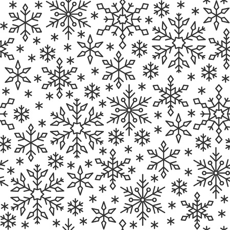 Snowflake black line seamless pattern. Winter season ornate star background. Linear snow flakes repeat ornament for paper wrap, fabric print, wallpaper decor. Frosty ice outline vector illustration