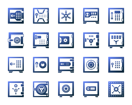 Safe silhouette icons set. Isolated on white web sign kit of bank cell. Keep Money pictogram collection includes storage system, treasure. Modern gradient simple contour symbol. Safe vector icon shape