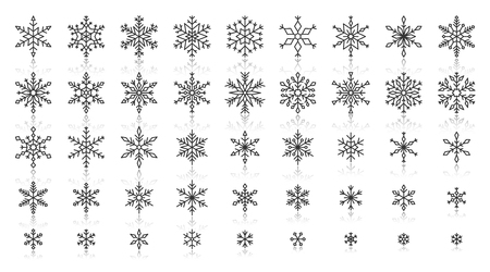 Snowflake thin line icons set. Outline web sign kit of snow. Winter linear icon collection includes weather, frost, cristal. Simple snowflake black contour symbol with reflection vector Illustration Illusztráció
