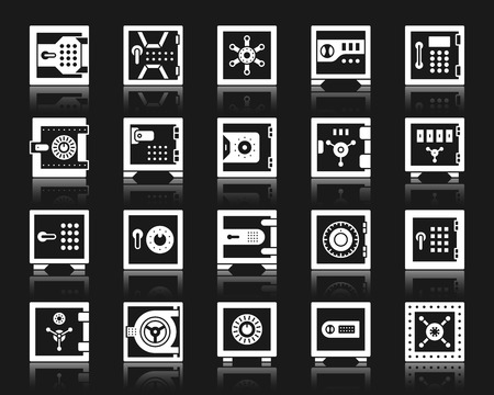 Safe silhouette icons set. Isolated sign kit of bank cell. Keep Money pictograms of metal box, code lock, vault security. Simple steel container contour symbol. Closed strongbox white vector icon