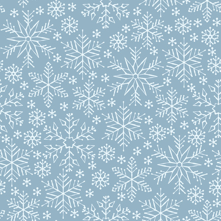Snowflake white line seamless pattern. Winter season ornate star background. Linear snow flakes repeat ornament for paper wrap, fabric print, wallpaper decor. Frosty ice outline vector illustration Illustration