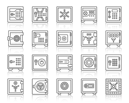 Safe thin line icons set. Outline sign kit of bank cell. Keep Money linear icon collection includes secure password, dial button, strongbox. Simple code lock black contour symbol. Vector Illustration