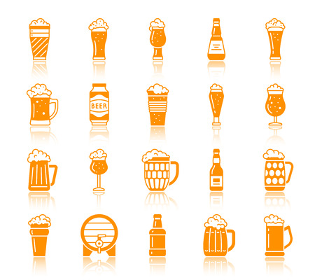 Beer mug silhouette icons set. Web sign kit of tall glass. Pub pictograms of hop, pilsner, liquid splash. Simple bar color contour symbol with reflection. Vector Icons of ware shape isolated on white Illustration