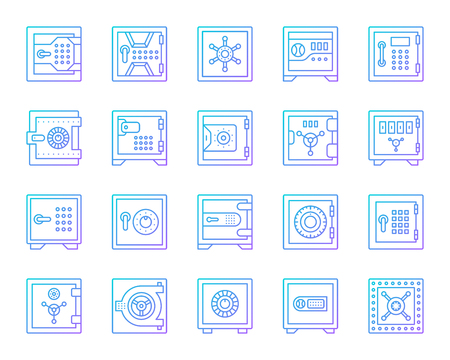 Safe thin line icon set. Outline vector web sign kit of bank cell. Keep money linear icons of cash deposit, privacy protection, treasure box. Vault security gradient simple symbol isolated on white