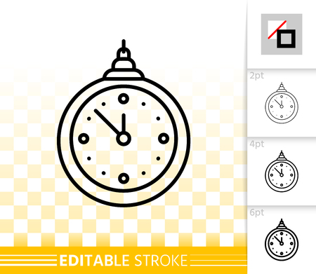 Hanging Clock thin line icon. Outline sign of christmas tree toy. New Year Decoration linear pictogram different stroke width. Simple vector transparent symbol. Time editable stroke icon without fill