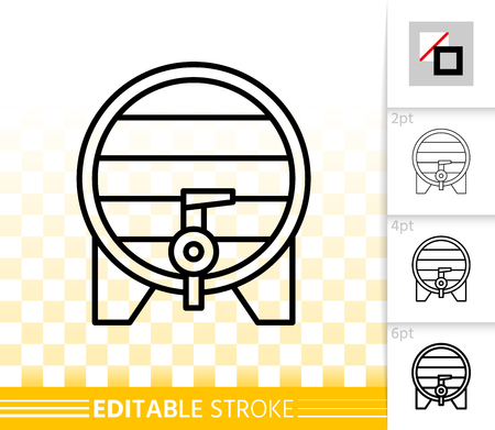 Beer wood barrel thin line icon. Outline web sign of cask. Pub linear pictogram with different stroke width. Bar simple vector symbol transparent background. Wine keg editable stroke icon without fill Banque d'images - 113264391