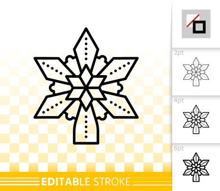 Christmas Tree Star thin line icon. Outline sign of topper. New Year Decoration linear pictogram different stroke width. Simple vector transparent symbol. Xmas Star editable stroke icon without fill