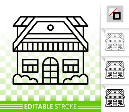 Dunne lijn huispictogram. Overzicht web teken van huis exterieur. Township lineair pictogram met verschillende lijnbreedte. Huisje Eenvoudige vector transparant symbool. Bewerkbaar lijnpictogram bouwen zonder vulling