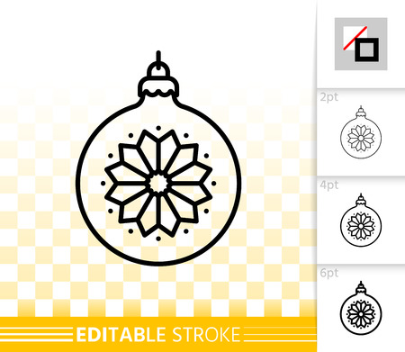 Christmas Tree Ball thin line icon. Outline web sign of bulb. Sphere linear pictogram different stroke width. New year simple vector transparent symbol. Xmas tree toy editable stroke icon without fill Illustration