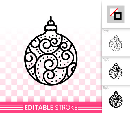Christmas Tree Ball thin line icon. Outline sign of bauble. Sphere linear pictogram different stroke width. New year simple vector transparent symbol. Xmas Tree toy editable stroke icon without fill Иллюстрация