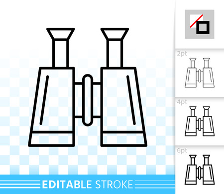 Binocular thin line icon. Outline web sign of optical equipment. Search linear pictogram with different stroke width. Find simple vector transparent symbol. Binocular editable stroke icon without fill