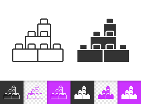 Building Block black linear and silhouette icons. Thin line sign of lego brick. Constructor outline pictogram isolated on white, transparent background. Vector Icon of kids game simple symbol closeup