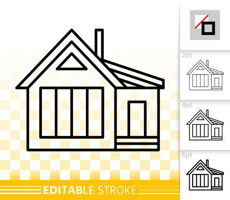House thin line icon. Outline web sign of home exterior. Township linear pictogram with different stroke width. Simple vector symbol, transparent background. Building editable stroke icon without fill