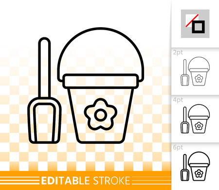 Shovel thin line icon. Outline web sign of bucket. Scoop linear pictogram with different stroke width. Simple vector symbol, transparent background. Kids game pail editable stroke icon without fill