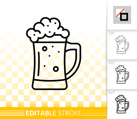 Beer Mug thin line icon. Outline sign of tall glass. Pub Bar linear pictogram with different stroke width. Simple vector symbol, transparent background. Alcohol drink editable stroke icon without fill 矢量图像