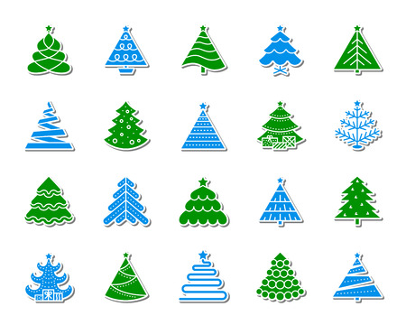 Christmas Tree sticker icons set. Sign kit of stylized spruce. Pictograms of Fir star decoration, magic holiday, artificial snow. Simple christmas tree vector icon for badge, pin, patch and embroidery