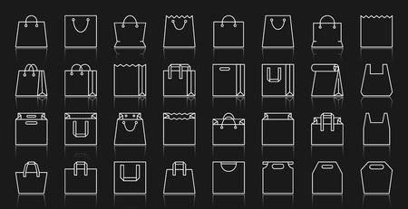 Shopping Bag thin line icons set. Outline web sign package kit. Sale linear icon collection clearance, e-commerce, handbag, shop. Simple packet white contour symbol with reflection vector Illustration