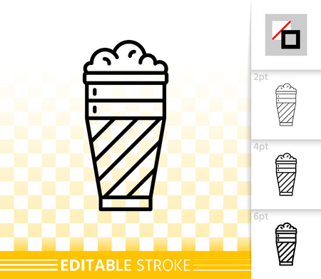 Beer Mug thin line icon. Outline sign of tall glass. Pub Bar linear pictogram with different stroke width. Simple vector symbol, transparent background. Alcohol drink editable stroke icon without fill Illustration