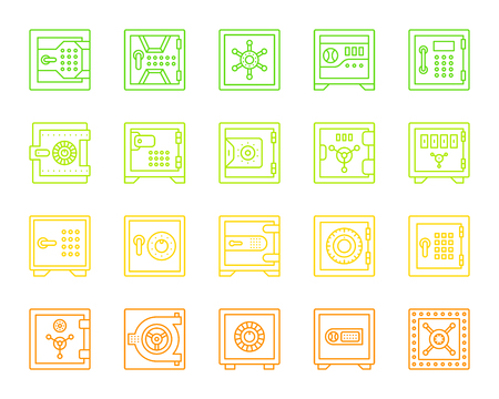 Safe thin line icons set. Outline web sign kit of bank cell. Keep Money linear icon collection includes storage, system, treasure. Simple security contour symbol isolated on white. Vector Illustration