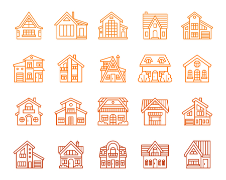 House thin line icons set. Outline sign home exterior kit. Township linear icon collection residence, chalet, rent. Simple cottage building color contour symbol isolated on white. Vector Illustration